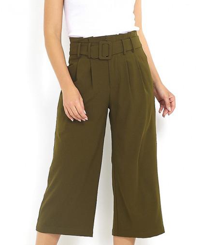 pantalón culotte color kaki