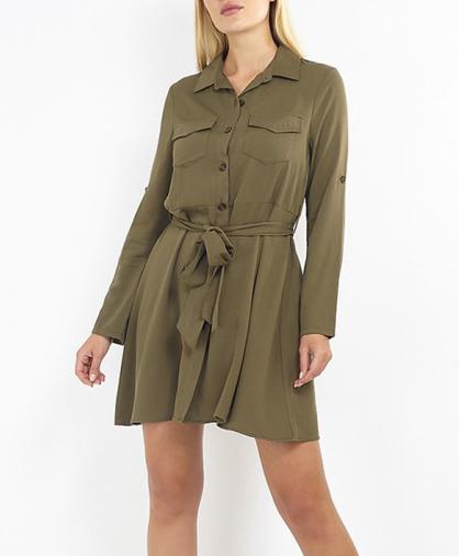 vestido camisero verde miltar